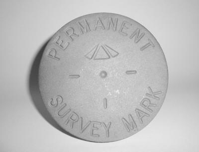 Standard gunmetal plaque permanent survey mark